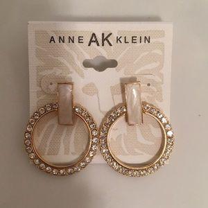 New Anne Klein Gold & Crystal Hoops  Marbleized
